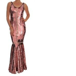 Dolce & Gabbana Pink Sequin Crystal Gown Dress